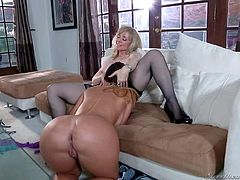 Lesbian mature woman Nina Hartley loves brunette's ass