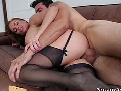 Diamond Foxxx is raunchy porn actress with stunning body shape. She wears sexy black stockings. She is penetrated in her cunt from behind. Horny guy with big cock pounds her coochy hard.