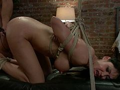 Gorgeous Eva Karera gets fucked deep and hard in her ass on a bed. After that she gets tied up and fucked again.