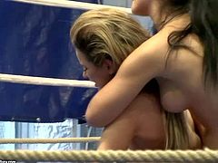 Young attractive babes Aleska Diamond and Lana S with natural boobs and sexy bodies in booty shorts have fun with fighting in the ring and wrestling on floor for some cash