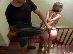 Blonde Simone Sonay in pink bikini flashes her small tits in the garden and then gets punished by Ramon Nomar indoors. Cutie gets ball gagged and tied up before she gets her ass whipped.