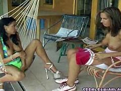See these alluring brunette lesbians making out and licking their hot tits at the backyard in this hot vid provided by Teen Lesbian Land. Then it's time for things to get even better!