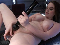 Watch this busty brunette biting her lips and moaning like never before in this fucking machines scene where she has her pink pussy drilled by one.