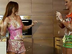 Two very hot lesbians, Chary Kiss and Tina Blade, getting naughty at the kitchen and trying to cook something delicious. However, they just want to make each other satisfied