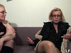 This chubby mature is getting her pussy licked and fingered by a lesbian punk girl. She loves it and won't let stop the pleasure.