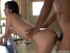 Female and male doctor talk to each other and then strip their clothes off. After that they have an amazing doggystyle sex.