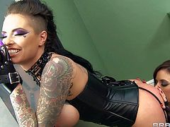 Christy Mackis s tattooed hot lady with perfect huge tits. She makes her deepest dirty lesbian fantasies a reality with Lexi Belle, Gia Dimarco, and Bonnie Rotten in this steamy scene.