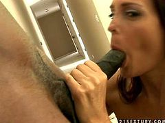 Long haired lusty milf with great hunger for cock and smoking hot body gives head to black bull with muscled perfectly shaped body gets pounded from behind to loud wet orgasm