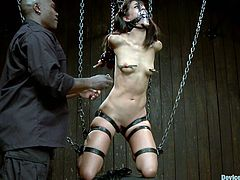 This girl gets blindfolded and bonded. After that she gets her wet pussy toyed with different devices. She feels pleasure and pain at the same time.