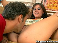 Voracious MILF is lying flat on her back keeping her legs wide open. The guy sticks his tongue to her tasty wet snatch eating her dry. Then she is poked bad from behind. Exciting Naughty America porn vid presented to you by Anysex.com for free.