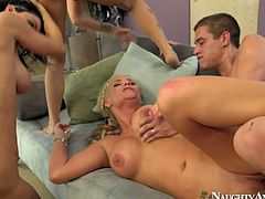 These are all feisty sluts with devilish sex energy. They all are fucking hard in a foursome getting poked one by one. Awesome sex clip produced by Naughty America.