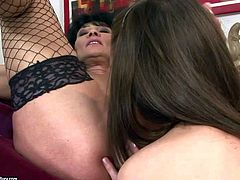 Filthy experienced black haired granny Regina seduces adorable tee with perfectly shaped hooters and delicious firm buns and has wild lusty licking action with her all over the living room