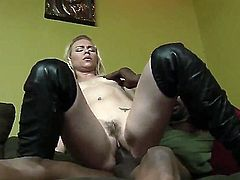 Blonde chick Melanie Jayne was always dreamed about really huge dick and today she got it in the black color by hot man Biggz. She really enjoys this massive aggregate.