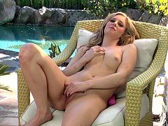 Ardent chick will make you jizz. This girlie presented in Twistys sex clip is hot like hell. Kinky wanker with sweet tits has a dildo which is a great help today for polishing her wet pussy right in the yard.