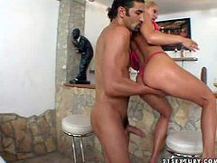 Lusty young blonde slut with nice tits and slim body in pink underwear and stripper shoes gives nice blowjob to tall black haired dude and gets his stiff cock up her tight ass
