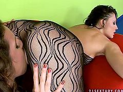 Sexy brunettes Aletta Ocean and Jacqueline Stones wearing black bodystockings are having some lesbian fun together. They lick each other's vaginas and then slam them with dildos.