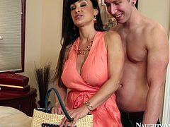 Young dude gladden his mesmerizing brunette wifey with an expensive gift. In order to thank him, she bends down in order to welcome a rapacious rimjob from him before he starts drilling her with aroused penis in doggy style.