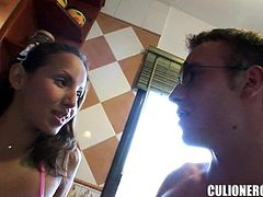 Insatiable chick Jade Kitti is having fun with some horny dude indoors. She lets him eat her cunt and then they bang fervently in missionary position.