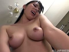 Naughty Japanese chick strips her clothes off and shows her amazing boobs. After that she gets pounded hard and deep in different poses.