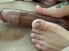 Once you see blonde Emma Mae, you will come for more! We guarantee you that. She is using her sexy feet to make his boner totally hard in this top rated clip!