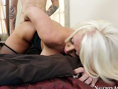 Shabby looking blond mature is a real nympho. She sucks aroused penis before it drills her shaved snatch in doggy style in steamy sex clip by Naughty America.