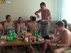 By the end of turretless alcoholic party of rapacious Russian students, they decide to throw a wild group sex orgy in steamy WTF Pass sex video.