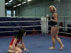 Sexy brunette and blonde bitches Angell Summers and Kathia Nobili are fighting on the ring and demonstrating tight asses and hot boobs!