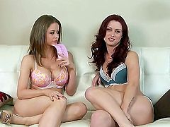 Wonderful lesbian chick Emily Addison and her female partner get interviewed and undress slowly in front of the camera. They both need something to lick and finger.