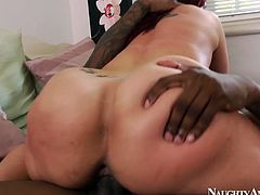 She tops the rod bouncing her cellulite ass fast. Then she is rammed bad in her wet cunt in a doggy position. Hardcore interracial porn clip produced by Naughty America.