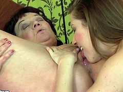 Turned on slutty brunette Nicole Sweet with big natural hooters and pretty face enjoys licking fat granny whore Marsha to orgasm in provocative positions and lets her return the favor