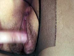 She is wearing black ripped pantyhose. Having an easy access to her pussy, horny guy penetrates the snatch poking her hard. Passionate Jav HD porn clip.