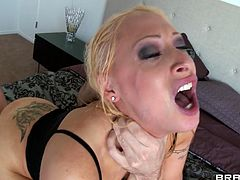 James wants to show this bitch what a man is capable of. He grabs her by the throat like the bitch she is and kneels her in front of his erected penis. Candy sucks his penis with submission and likes it! The way he dominates her makes Candy's pussy wet but the guy fucks her in the ass. That's the way to treat her!