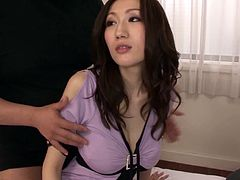 Beautiful Japanese milf is playing dirty games with three men indoors. She sucks and deepthroats their manhoods and then welcomes them in her juicy vagina.