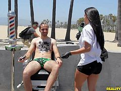 This Money Talks update is all about a brave guy with hairy chest. He gets his chest hair treated right by sexy raven haired girl Lexi for money. Watch them have fun in public place.