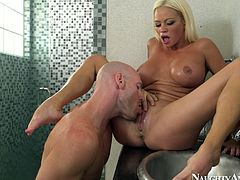 Hot tempered blond whore with oversized silicon tits gives an intensive ride to aroused bald dude before she welcomes a rapacious tongue fuck of her soaking punani.