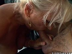 Nasty and dirty minded granny Mamie takes over her undies and gives this dude an amazing blowjob. She is old, but she is still in the row.
