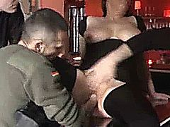 Shameless amateur slut fist fucks herself at a mcdonalds and gets fisted by men in a bar