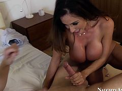 Seductive brunette mom with big boobs is sucking long dick deepthroat. She is performing tremendous blowjob skills she gained during her long porn career.