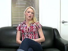 Pretty handsome slender blonde bitch Zoey Paige giving her interview at porn casting and stripping to show off her precious body and tight ass!