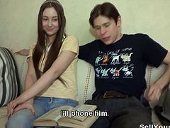 Young dude wants to see his girlfriend fucking one of his best friends. His friend comes over and starts fucking this cute russian slut!