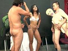 Delicious looking chocolate babe welcomes a zealous tongue fuck from aroused dude surrounded by two kinky fuckers in sultry interracial sex video by Fame Digital.
