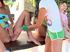 Slutty teens are having outdoor pleasure along hunk with monster dick