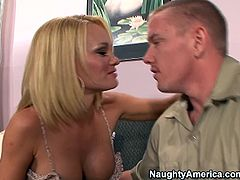 Hunky looking mature bitch hooks up with her son's friend. She seduces him with a deep cleavage forcing him to lick her silicon tits and later polishing her muf remembering to poke anal hole.