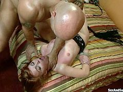 Adorable chick Marie McCray is having fun with Derrick Pierce in BDSM vid. Derrick ties the girl up and whips her ass before smashing her palatable pussy with his prick.