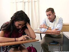 Get a load of this hardcore scene where Amia Miley rides her teacher's cock. Get ready for rough sex! Waste no time and start the video by clicking the play button.