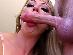 Amazing facial cumshot after hardcore deep blowjob by adorable blonde slut Missy Martinez. She swallows the huge penis and licks shaved balls at the same time.Enjoy this POV scene!