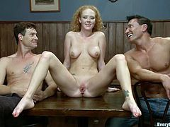 Kinky Audrey Hollander take her dress off and toys her ass lying on a bar counter. Then she gives a blowjob and gets ass fucked.