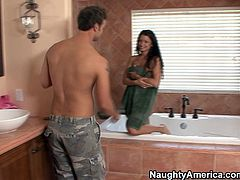 Steamy wifey Ann Marie Rios gives a head to her hubby