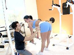 Get ready because Sophie Dee is about to go hardcore in the gym. This busty brunette likes it rough. Watch her getting nailed all over the gym and sucking a thick cock!