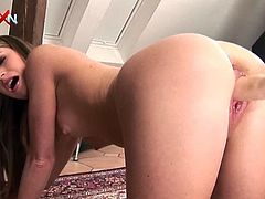 A fucking machine is going to make this 19-year-old beauty orgasm, as well as the pussy eating, fingering and fisting the brunette Leanna Sweet will give to her.